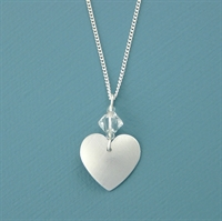 Picture of Aluminium Small Round Heart & Crystal Necklace