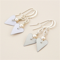 Picture of Bridal Slim Heart & Pearl Earrings