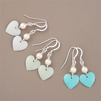 Picture of Bridesmaid Round Heart & Pearl Earrings (Short Earwire)