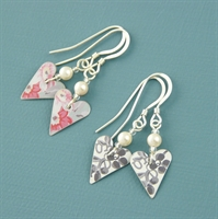 Picture of Slim Heart & Pearl Earrings