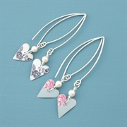 Picture of Slim Heart & Pearl Earrings (Medium Earwires)