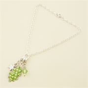 Picture of Green Oakleaf Charm & Crystal Bracelet