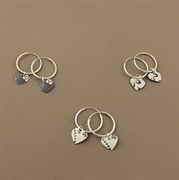 Picture of Tiny Round Heart Earrings (Small Hoops)