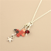 Picture of Christmas Tartan Butterfly Charm Necklace