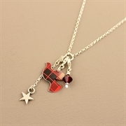 Picture of Christmas Tartan Dove Charm Necklace