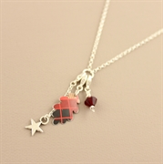 Picture of Christmas Tartan Oakleaf Charm Necklace