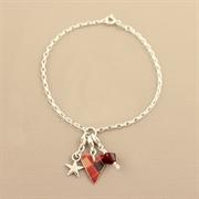 Picture of Christmas Tartan Slim Heart Charm Bracelet