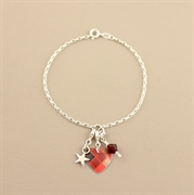 Picture of Christmas Tartan Round Heart Charm Bracelet