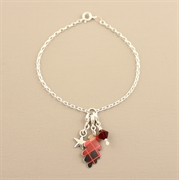 Picture of Christmas Tartan Oakleaf Charm Bracelet