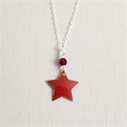 Picture of Red Christmas Star with Crystal Necklace