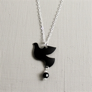 Picture of Black Christmas Dove with Crystal Necklace