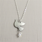 Picture of Silver Christmas Dove with Crystal Necklace