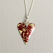 Picture of Red & Gold Christmas Slim Heart with Crystal Necklace
