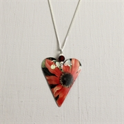 Picture of Red Flower Christmas Heart with Crystal Necklace