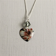 Picture of White Floral Small Round Heart with Crystal Pendant