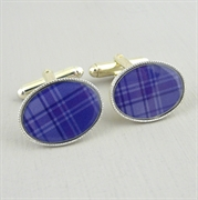 Picture of Purple Tartan Cufflinks (Silver Plate)