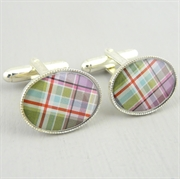 Picture of Green Pastel Tartan Cufflinks (Silver Plate)