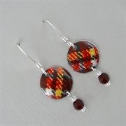 Picture of Tartan Disc & Crystal Earrings (Small Earwire)