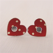 Picture of Spotty Round Heart Studs