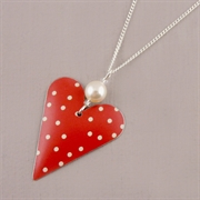 Picture of Spotty Medium Heart Necklace with Pearl