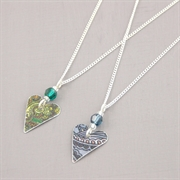 Picture of Christmas Small Slim Heart & Crystal Necklace