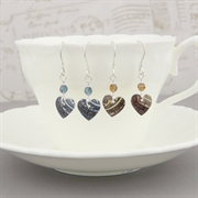 Picture of Christmas Tiny Round Heart & Crystal Earrings