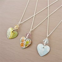 Picture of Small Round Heart & Crystal Necklace