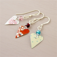 Picture of Small Slim Heart & Crystal  Earrings JE14B