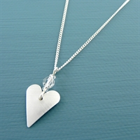 Picture of Aluminium Small Slim Heart & Crystal Necklace JS14b-A