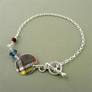 Picture of Tartan Disc & Crystal Toggle Bracelet