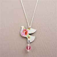 Picture of Pretty Floral Dove & Crystal Necklace