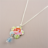 Picture of Pretty Floral Flower & Crystal Necklace