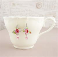 Picture of Pretty Floral Butterfly & Crystal Earrings SP-E54
