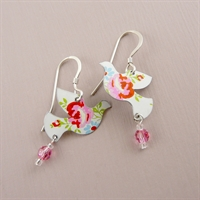 Picture of Pretty Floral Dove & Crystal Earrings