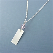 Picture of Silver Rectangle & Crystal Necklace