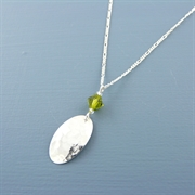 Picture of Silver Oval & Crystal Necklace