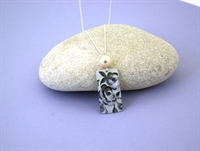Picture of Grey Chambray Rectangle & Pearl Necklace