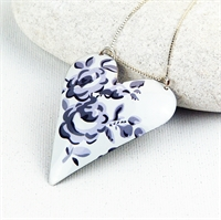 Picture of Grey Chambray Large Heart Necklace JS13