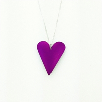 Picture of Purple Aluminium Medium Slim Heart Necklace JS7