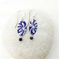 Picture of Italian Blue Oval & Crystal Earrings JE-78
