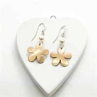 Picture of Copper Rose Flower & Pearl Earrings JE49B