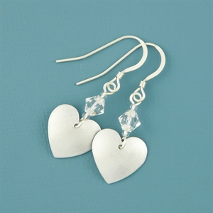 Picture of Aluminium Small Round Heart & Crystal Earrings
