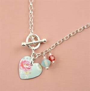 Picture of Pretty Floral Small Round Heart Toggle Bracelet