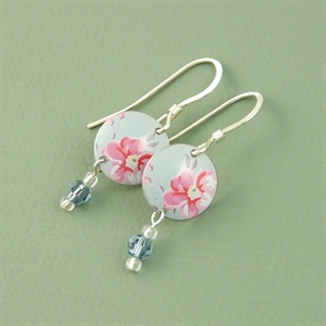 Picture of Pretty Floral Disc & Crystal Earrings (Small Earwire)