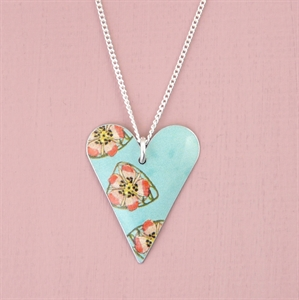 Picture of Bright Floral Slim Heart Pendant