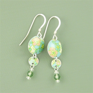 Picture of Bright Floral Two Disc & Crystal Earrings