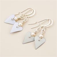 Picture of Bridal Slim Heart & Pearl Earrings