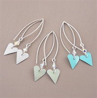 Picture of Bridesmaid Slim Heart & Crystal Earrings (Medium Earwire)