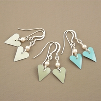 Picture of Bridesmaid Slim Heart & Pearl Earrings (Short Earwire)