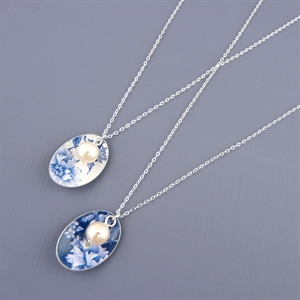 Picture of Denim Oval & Pearl Necklace JS47b-de